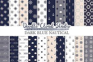 Dark Navy Blue Cream Gray Nautical