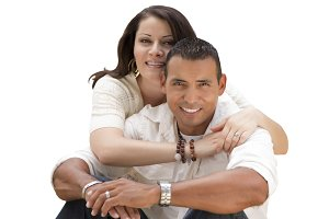 Young Hispanic Couple on White