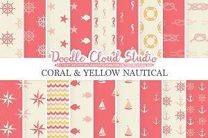 Coral and Yellow Nautical