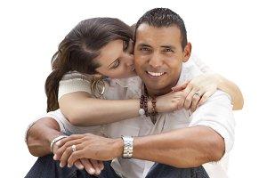 Hispanic Couple Portrait on White