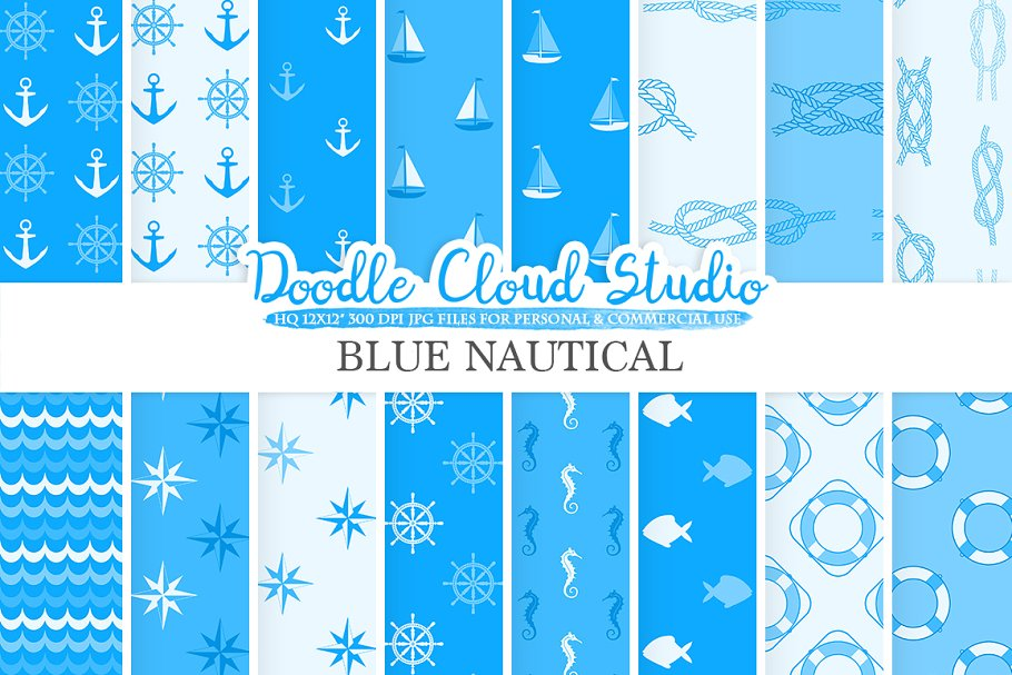 Blue Nautical digital paper