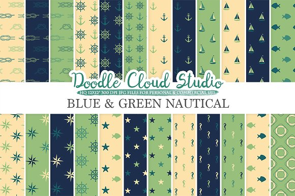Blue and Green Nautical