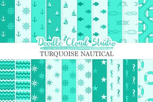 Aqua Nautical digital paper