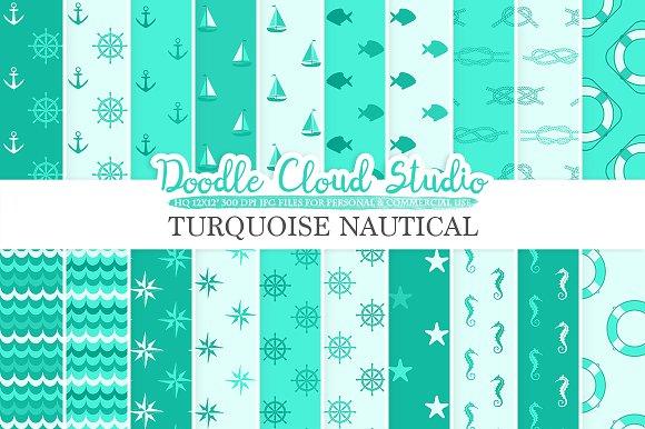 Aqua Nautical digital paper
