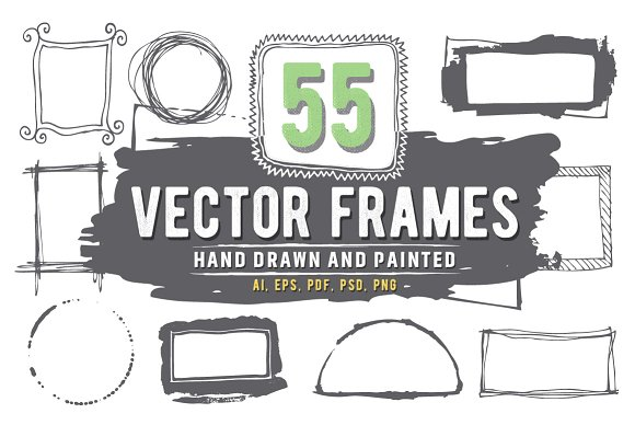 55 Hand-drawn, painted vector frames in Graphics