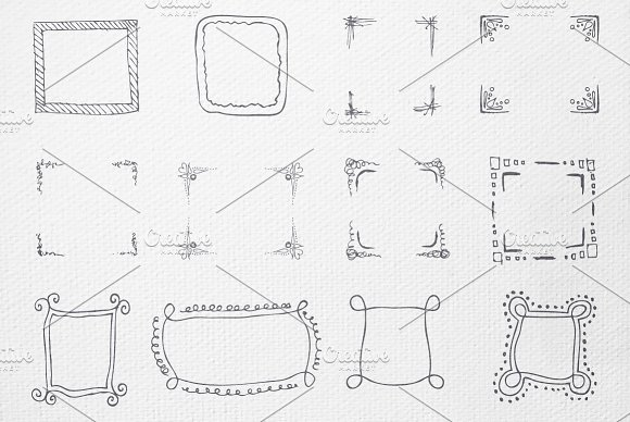 55 Hand-drawn, painted vector frames