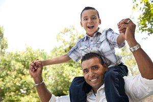 Hispanic Father and Son Having Fun