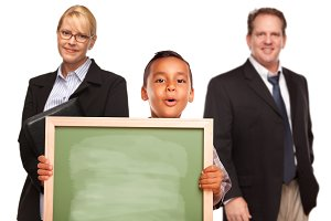 Teachers & Boy Holding Chalk Board