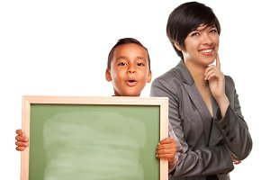 Teacher With Boy Holding Chalk Board