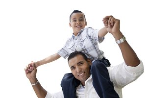 Hispanic Father & Son Having Fun