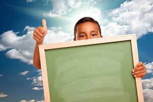 Boy Holding Chalk Board, Clouds/Sky