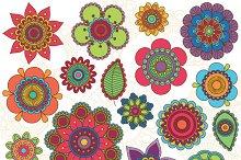Doodle Flowers Clipart and Vectors