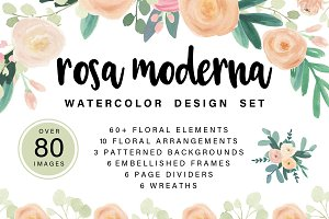 Rosa Moderna: Watercolor Floral Set