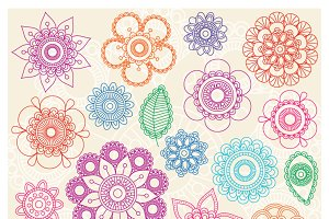 Doodle Mandala Flowers PS Brushes