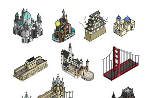 Illustration of world tourist spots