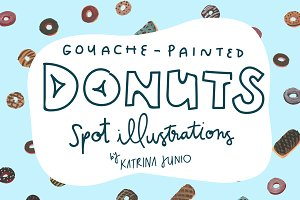 Hand Painted Elements: Donuts