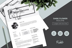 drkFloral Resume/CV Template 3 pages