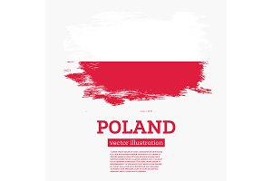 Poland Flag with Brush Strokes.