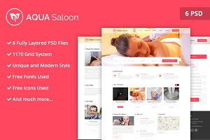 Aqua Saloon PSD Website Template