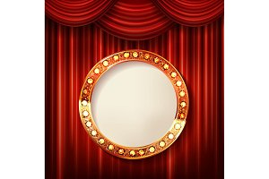 Set cinema golden round frames