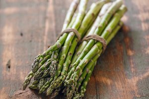Bunches of fresh raw asparagus