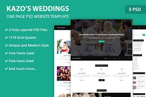 One Page Wedding PSD Web Template