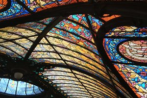 Stained glass roof in Mexico Cit