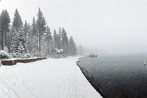 Snow storm on Lake Tahoe