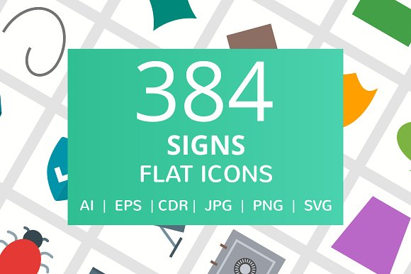 384 Signs Flat Icons