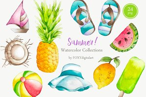 24 Watercolor Summer Clipart