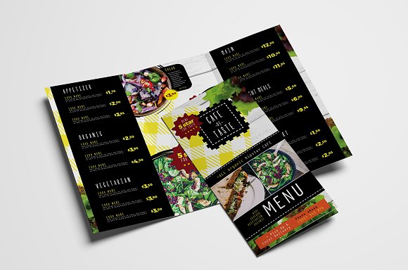 trifold salad menu template brochure templates creative market