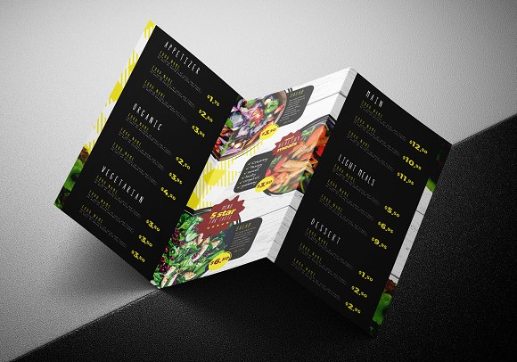 Trifold Salad Menu Template Brochure Templates Creative Market - Folded menu template