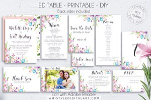 Floral Wedding Set Editable PDF
