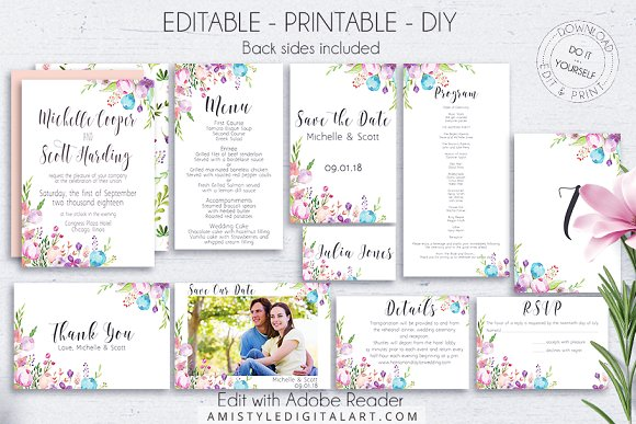Floral Wedding Set Editable PDF