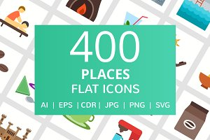 400 Places Flat Icons