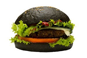 Black burger on white background