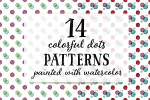 14 Watercolor Dots Patterns