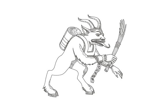 Krampus With Stick Doodle Art