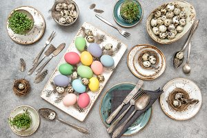 Easter table decoration eggs