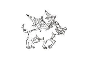 Winged Wild Boar Doodle Art