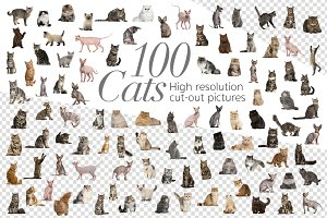 100 Cats Bundle - Cut-out Pictures