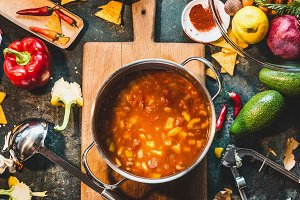 Mexican vegetarian  bean soup