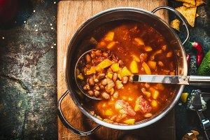 Vegetarian Bean soup in cooking pot
