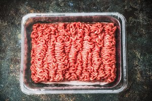 Raw beef minced meat in plastic box
