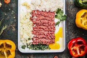 Meat stuffing preparation