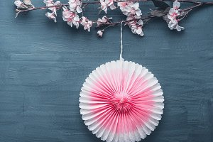 Spring blossom and pink party fan