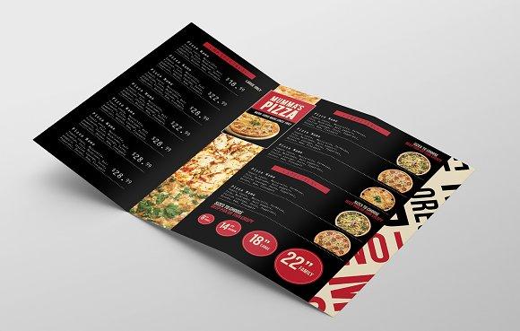 trifold pizza menu template brochure templates creative market