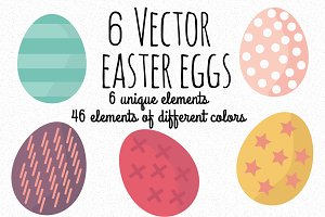 6 Vector Easter eggs