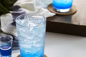Ice Blue Lime soda on wooden