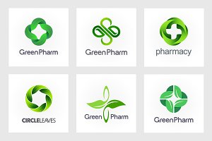 Green Pharmacy Logo Set